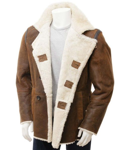 Mens Distressed Brown Leather Double Breasted Shearling Coat