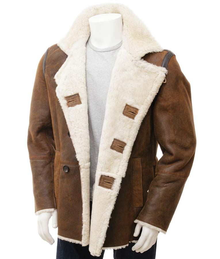 dc8bbb12ae25 Mens Distressed Brown Leather Double Breasted Shearling Coat