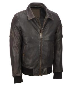 Mens Distressed Brown Leather Vintage Bomber Leather Jacket
