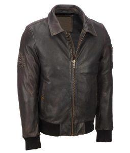 Mens Distressed Brown Leather Vintage Bomber Leather Jacket