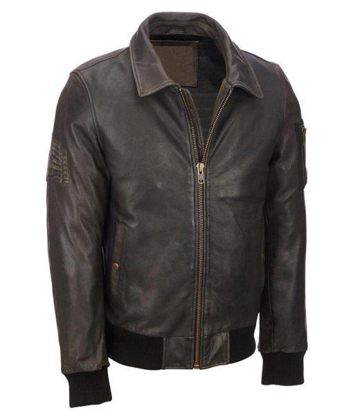 Mens Distressed Brown Vintage Bomber Jacket