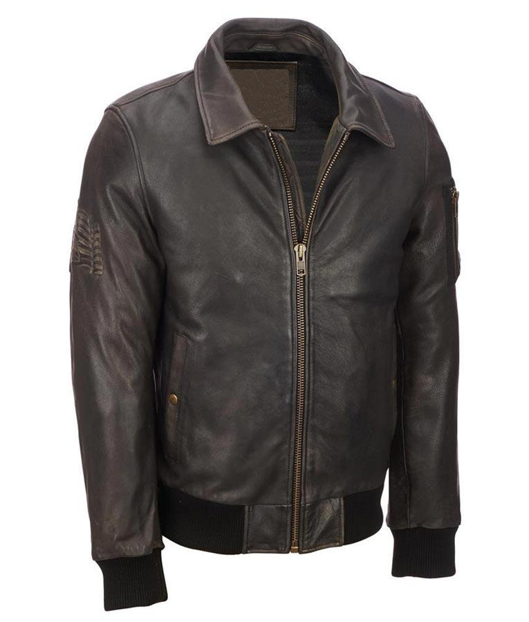Mens Distressed Brown Vintage Bomber Jacket