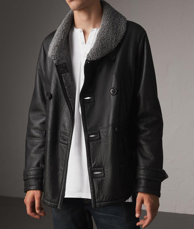 Double Breasted Mens Black Leather Faux Shearling Pea Coat