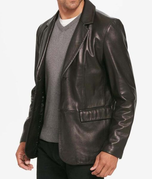 Mens Two Button Black Leather Blazer