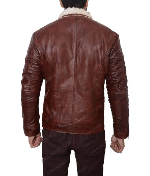 Red Leather Waxed Motorcycle Jacket