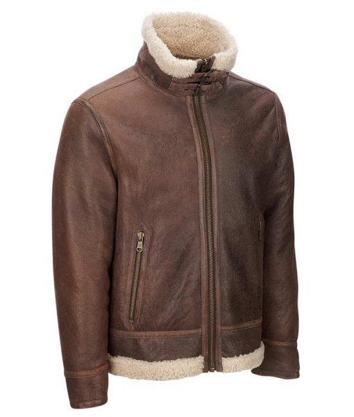 Mens Light Brown Shearling Aviator Jacket