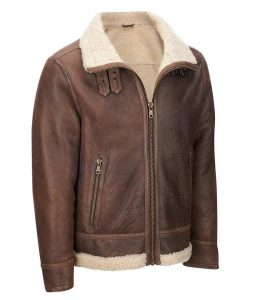 Light Brown Mens Shearling Aviator Leather Jacket