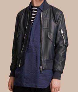Multi Pockets Mens Flight Bomber Black Leather Jacket