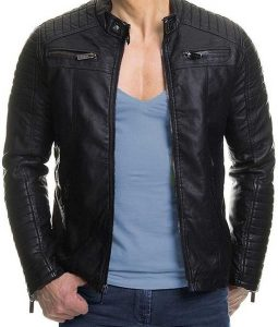 Casual Mens Padded Style Slimfit Black Leather Jacket