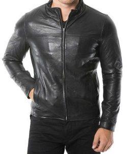 Café Racer Mens Casual Plain Black Leather Jacket