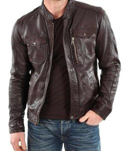 Racer Style Mens Casual Brown Leather Jacket