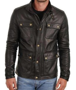 Mens Racer Style Cusual Four Button Pockets Black Leather Jacket