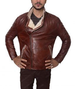 Mens Leather Waxed Motorcycle Jacket