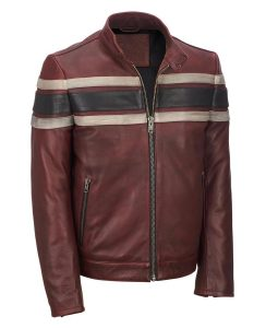 Mens Vintage Red Retro Style Cafe Racer Leather Jacket