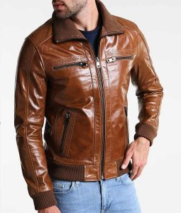 Mens Shining Brown Leather Bomber Style Jacket