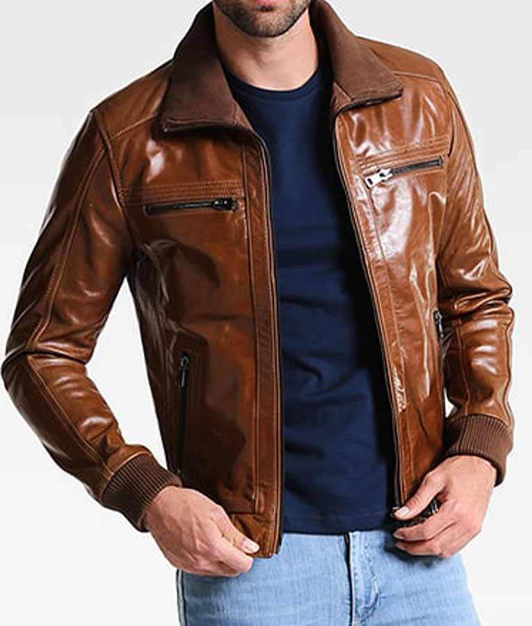 Mens Shining Brown Leather Bomber Style Jacket - USA Jacket