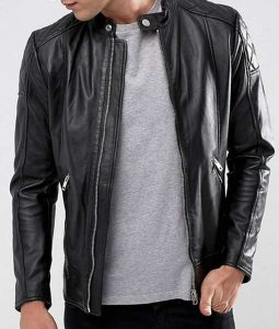 Mens Casual Black Quilted Design Black Leather Jacket