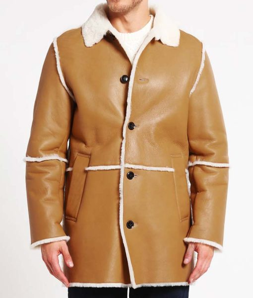 Mens Tan Leather Faux Shearling Detailed Car Coat