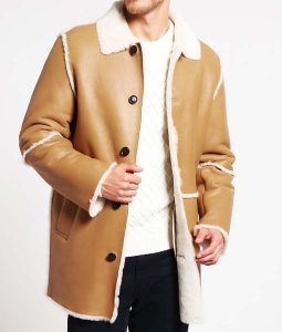 Mens Single Breasted Tan Leather Shearling Detailed Coat