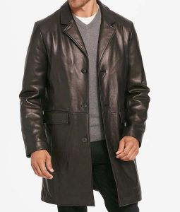 Mens Three Button Notch Collar Leather Top Coat