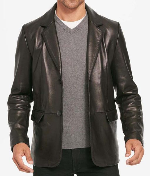 Two Button Mens Black Leather Blazer Jacket