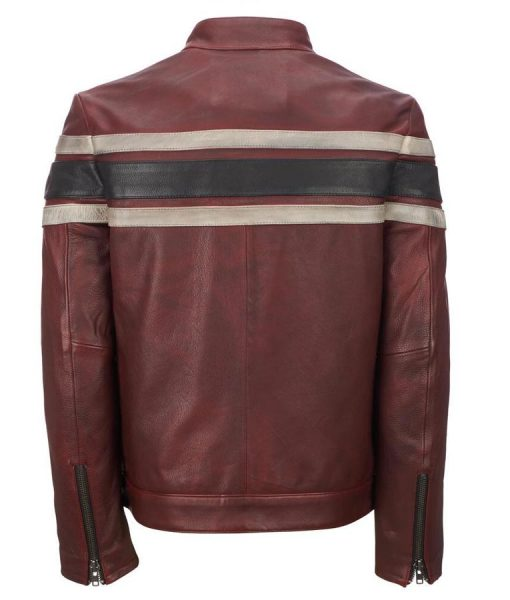 Red Waxed Mens Retro Stripes Café Racer Style Leather Jacket