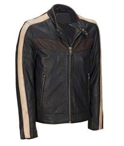 Black Leather Mens Vintage Retro Café Racer Jacket
