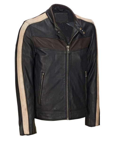 Mens Vintage Retro Café Racer Black Jacket