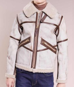 White Waxed Mens Aviator Style Faux Shearling Detailed Leather Jacket