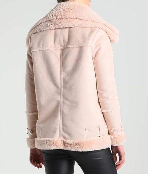 Womens Aviator Style Pink Leather Shearling Jacket