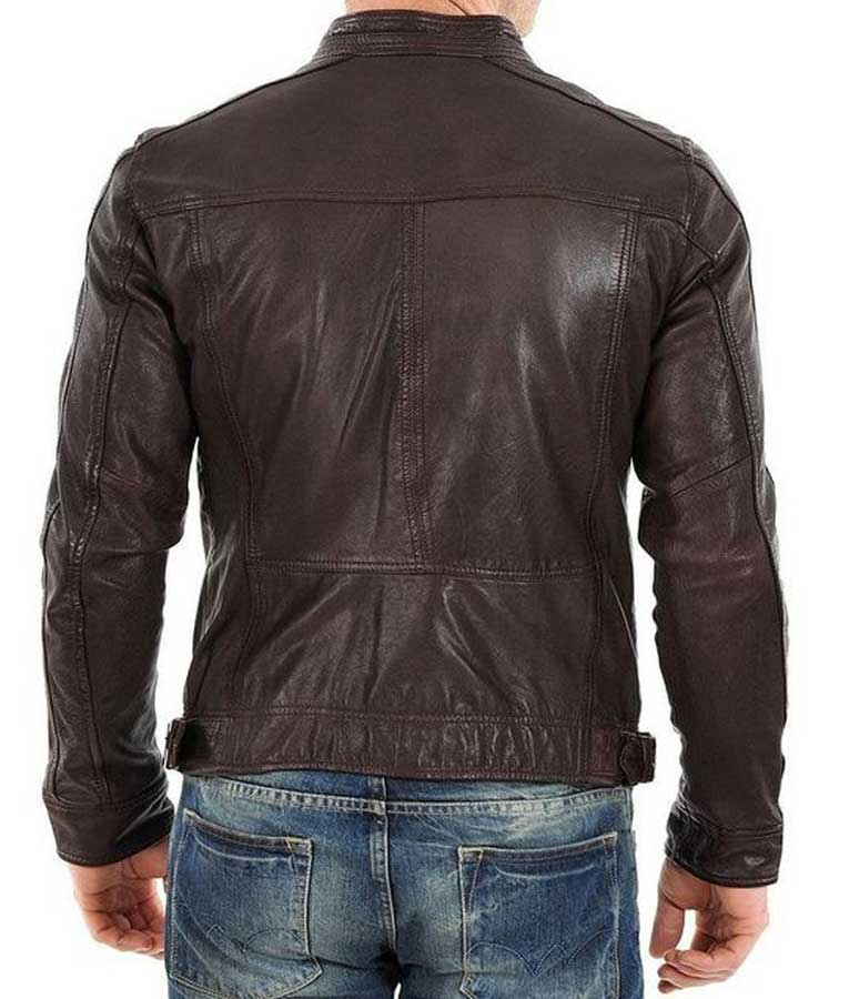 Racer Style Mens Casual Brown Leather Jacket - USA Jacket