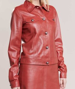 Womens Buttoned Red Leather Jacket