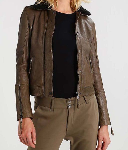 Shearling Collar Womens Khaki Leather Jacket