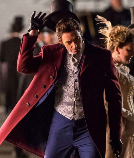 The Greatest Showman Hugh Jackman Red Trench Coat