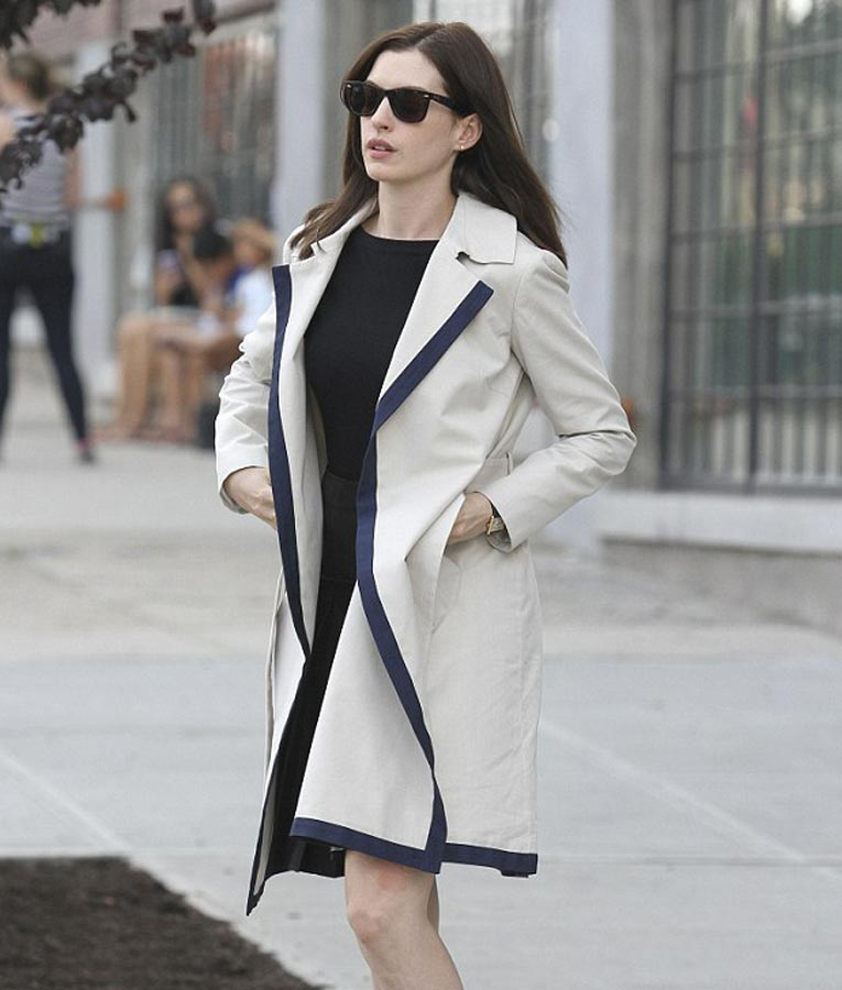 Anne Hathaway Outfits: The Intern Jules Anne Hathaway Trench Coat