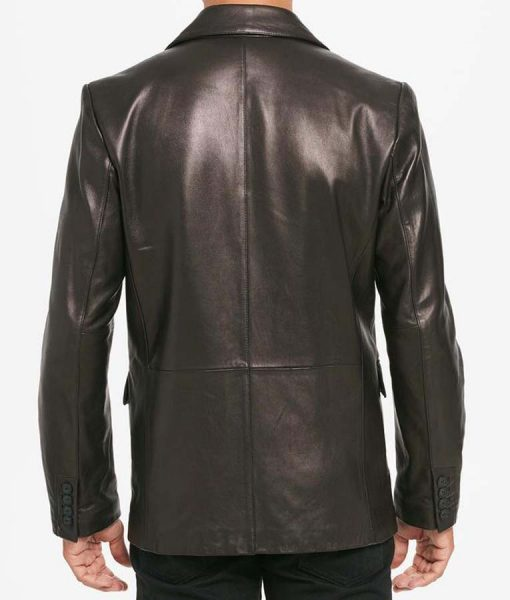Two Button Notch Collar Mens Black Leather Blazer