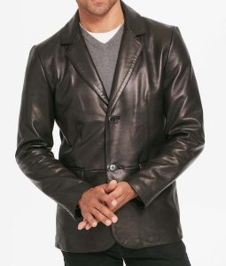 Mens Leather Two Button Black Blazer Jacket
