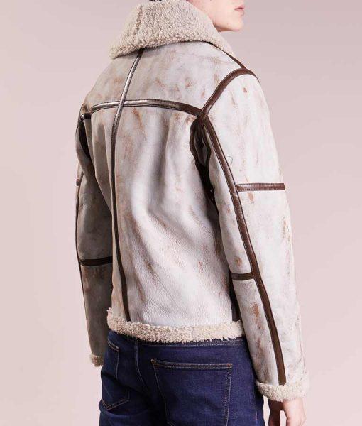 Mens White Leather Waxed Aviator Jacket