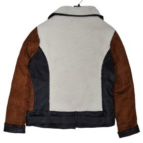 Women Suede And Shearling Half Zip Jacket