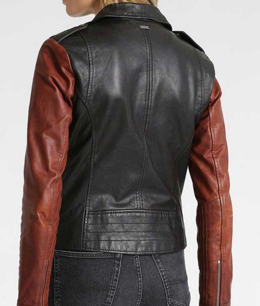 Womens Black Leather Brown Sleeves Motorcycle Jacket