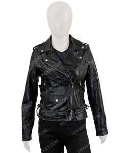 Womens Asymmetrical Black Motorcycle Jacket