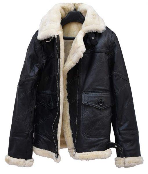 Womens Aviator Ivory Shearling Jacket
