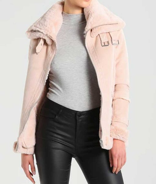Womens Pink Leather Shearling Jacket