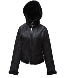 Womens Black Shearling Leather Hooded Jacket