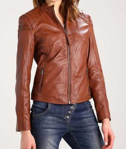 Womens Dark Brown Cafe Racer Style Leather Jacket