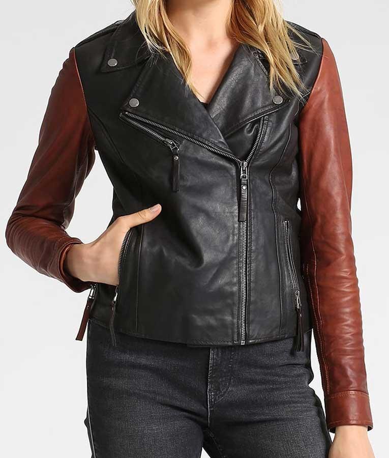 Womens Asymmetrical Style Brown Sleeves Black Leather Moto Jacket