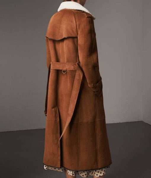 Double Breasted Womens Brown Suede Leather Long Trench Coat