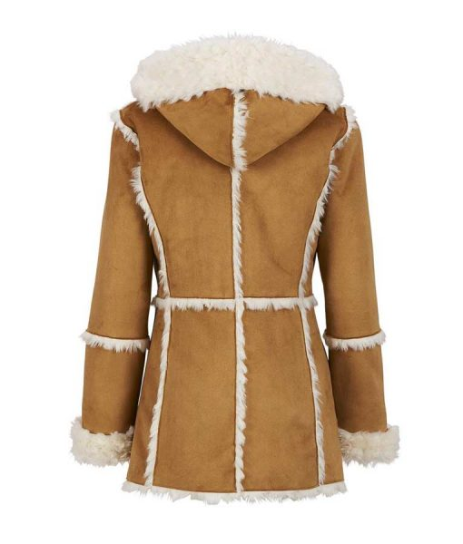 Womens Light Brown Suede Leather Faux Fur Lining Overcoat With Hood