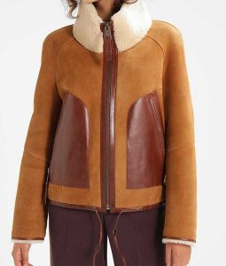 Womens Brown Suede Leather Detailed Jacket