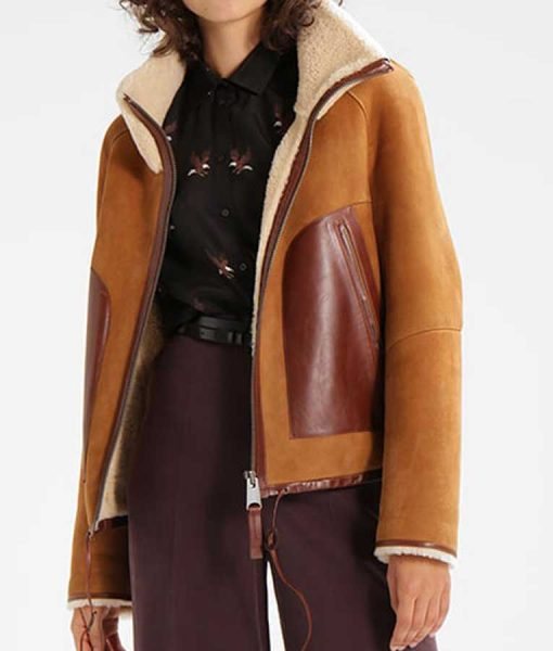 Womens Giant Pockets Brown Suede Leather Shearling Jacket